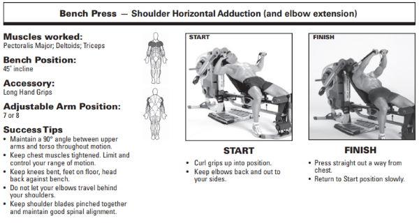 Bowflex Revolution bench press exercise